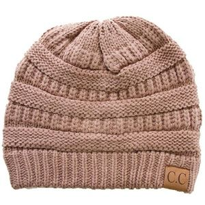 C.C Cable Knit Solid Beanie-HAT-20A_TAUPE